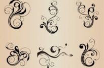Free vector Vector floral  Swirl Floral Element Vector Set for Design