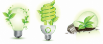 Green Leaf and Energy-Saving Lamps Vector