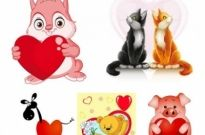 Free vector Vector Heart  valentine cute animals vector