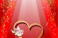 Free vector Vector background  valentine day heartshaped and colorful ribbons vector background