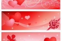 Free vector Vector Heart  Valentine's banners set