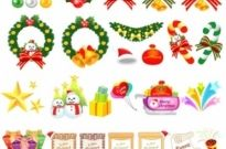 Variety christmas gift cartoon vector elements and Free vector 4.65MB