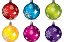 Free vector Vector Christmas  vector colorful christmas balls hanging