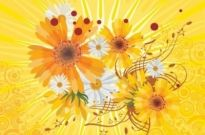 Free vector Vector flower  Vector Flower Abstract Yellow Background