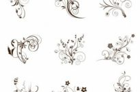 Free vector Vector floral  Vector Illustration Set of Swirling Flourishes Decorative Floral Elements
