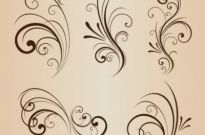 Free vector Vector floral  Vector Set of Swirling Flourishes Decorative Floral Elements