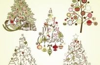 Vintage retro style christmas tree collection vector Free vector 3.55MB