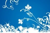 Free vector Vector background  White Floral on Blue Background Vector Graphic