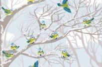 Free vector Vector background  winter snow tree and birds background