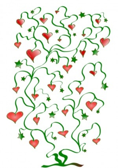 Free vector Vector clip art  Tree of Hearts with Leaves of Stars