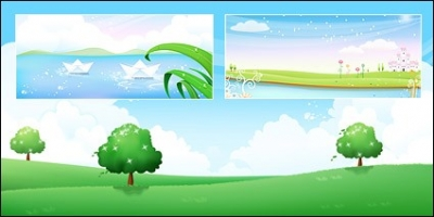 Free vector Vector landscape  Tree on grass, flower Garden on lake side