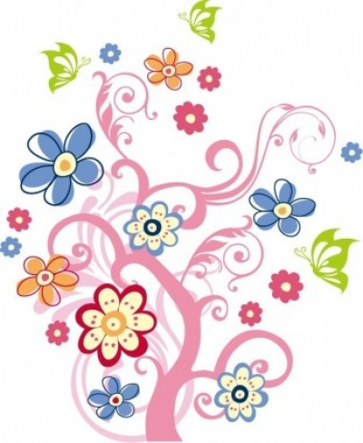 Free vector Vector flower  Tree with Flowers Vector Graphic