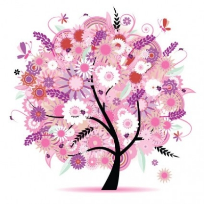 Free vector Vector flower  Tree with Flowers Vector Illustration
