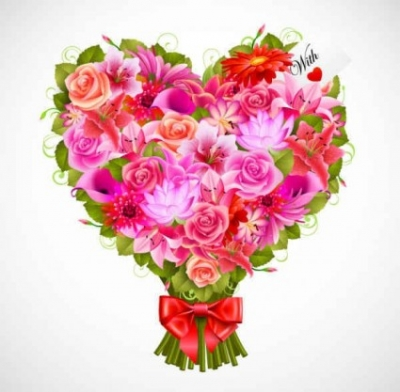 Free vector Vector background  Valentine's Day flowers background