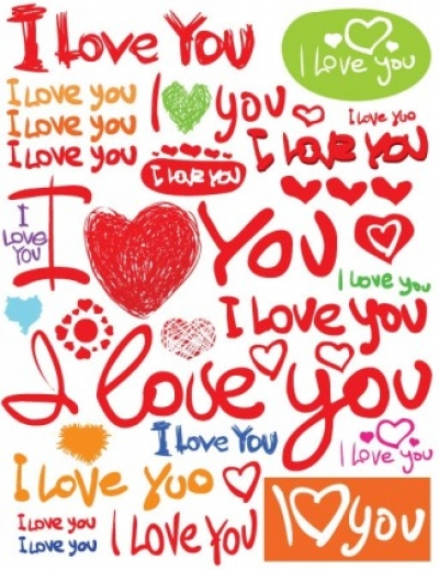 Free vector Vector clip art  valentine day clip art handpainted english fonts