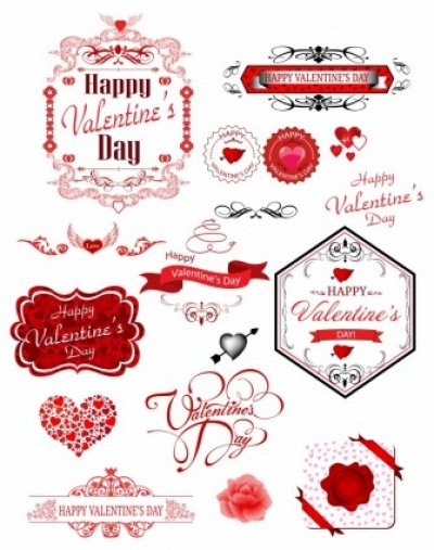 Free vector Vector Heart  Valentine day label