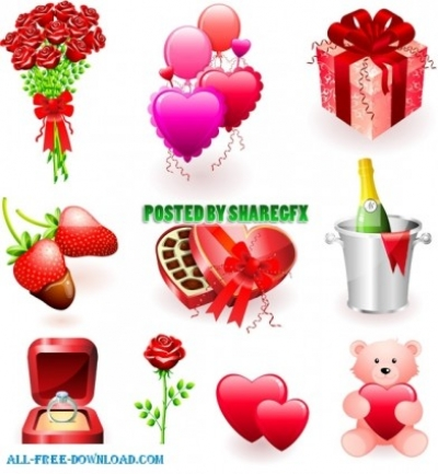 Free vector Vector Heart  Valentines day gift and bucket