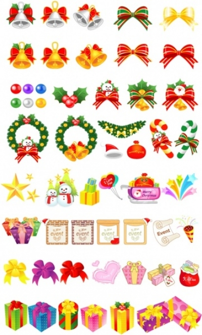 Free vector Vector cartoon  variety christmas gift cartoon vector elements and