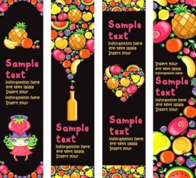Free vector Vector banner  Vector Background of Colorful Fruits and Banner Material