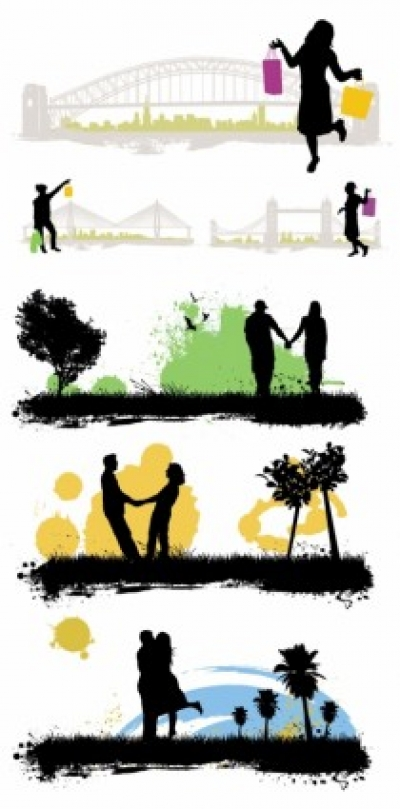 Free vector Vector Silhouettes  vector characters buildings scenes silhouette vector 01