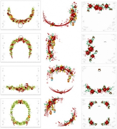 Vector christmas wreath collection Free vector 18.70MB