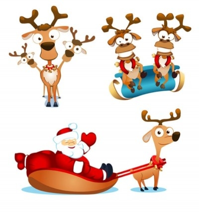 Free vector Vector misc  vector cute santa claus elk and