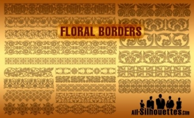 Free vector Vector Silhouettes  Vector Floral Borders