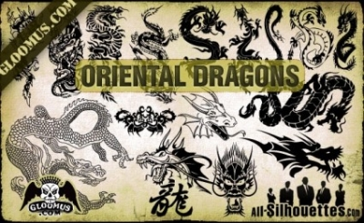 Free vector Vector Silhouettes  Vector Oriental Dragons