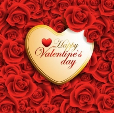 Free vector Vector background  Vector Red Valentine Heart On Roses Background