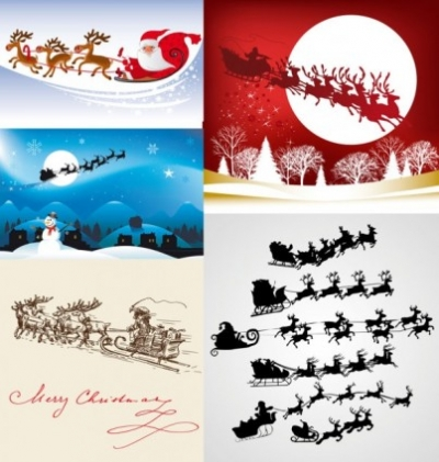 Free vector Vector misc  vector santa claus flying over the air