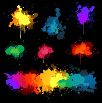 Free vector Vector background  Vector Set Of Colored Blots On The Black Background