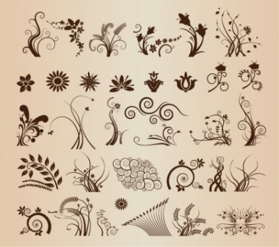 Free vector Vector floral  Vector Set of Vector Floral Ornamental Elements for Design