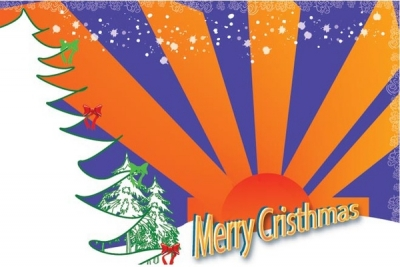 Vector sunrise orange background with 3d merry christmas x mas card template Free vector 1.47MB