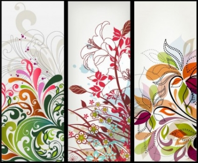 Free vector Vector banner  Vector Vertical Floral Banners