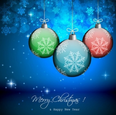 Free vector Vector background  Vector Winter Background with Beautiful Christmas Balls
