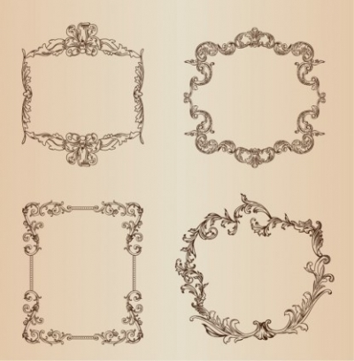 Free vector Vector floral  Vintage Floral Decorative Frame Vector Set