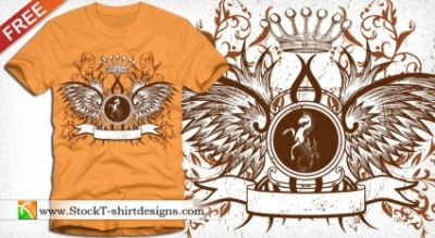 Free vector Vector floral  Winged Shield with Crown and Floral Free T-shirt Design
