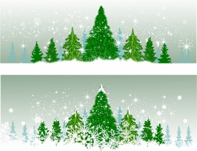 Winter Christmas trees Free vector 23.25MB