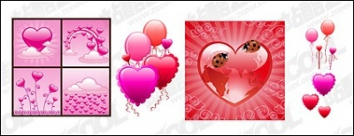 Free vector Vector Heart  With texture of the heart-shaped elements vector material