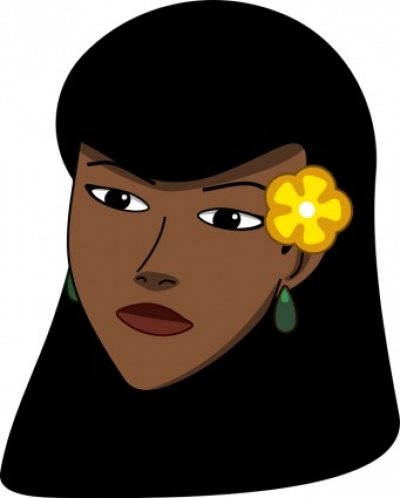 Free vector Vector clip art  Woman head with flower