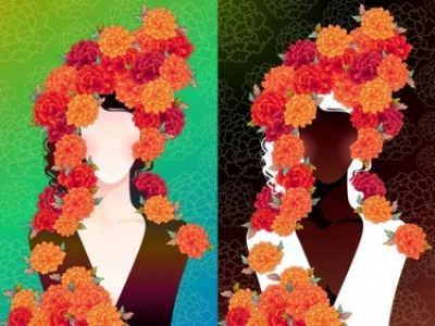 Free vector Vector flower  woman with flowers vector 2